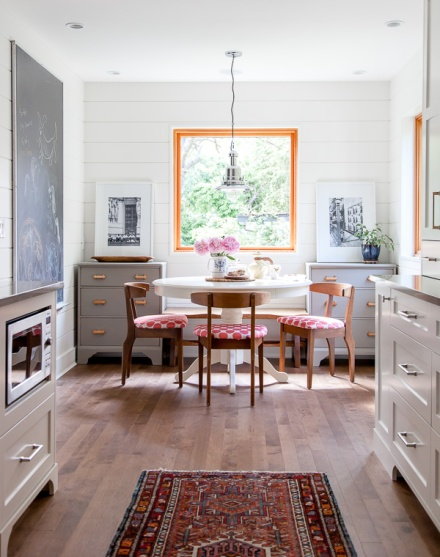 Great use of the storage left & right, centering the nook on the window. Bravo. Jump to The House Diaries to see the full transformation of this kitchen (link below).