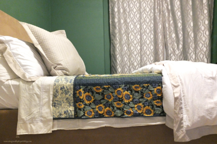 Fall Bedding with White Sheets Quilted Layers and Neutrals Sunflowers Blue and Green
