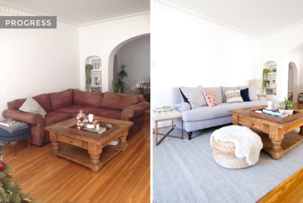 Living Room Inspiration, Decor, Progress, Before and After, Bright, Rolled Arm, Sofa, Table Rug, Blue White gray