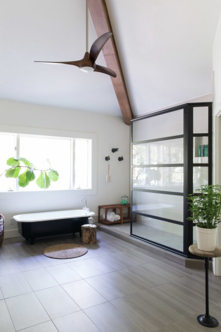 Master Bathroom, glass shower, industrial chic, shower door, black and white, clawfoot tub, details, beams
