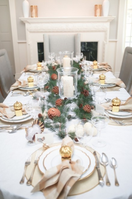 Thanksgiving, Christmas, Holiday, holidays, hosting dinner party tablescape table setting gold pinecones pumpkins, turkey, deer,