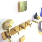 Citterio E Collection Shower Set Wall brushed gold brass axor hansgrohe shower