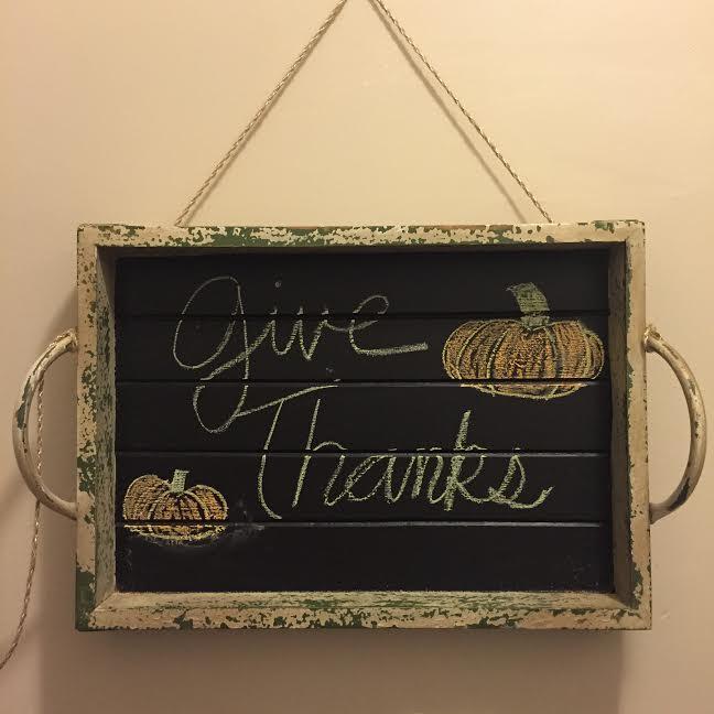 """give Thanks"" Chalkboard decor DIY Chalk Tray give Thanks, Hand drawn pumpkins, wall hanging, thanksgiving decor"