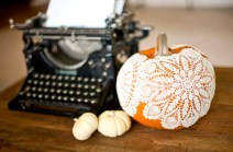 Thanksgiving Decor Doily Covered Pumpkins