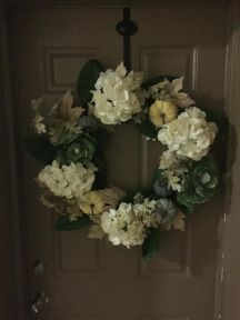 Fall Wreath, Fall Front Door, Autumn, Welcome, Welcoming, Cabbage, Pumpkins, Leaves, Hydrangia, Front Door, Welcome Home