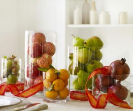 Apple Vases, Pomegranate Vase, Pears, Lemons, Vase Filler, Easy Tablescape, Simple Centerpieces, Thanksgiving, Hosting