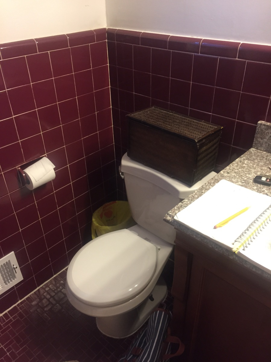 burgundy tile, old bathroom, outdated, before and after, renovation, bathroom renovation, retro bathroom, retro tile, work in progress, bathroom redeisgn,