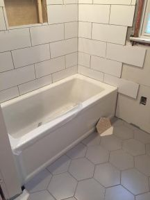 Tile, Bathroom Renovation, large scale, large scale tile, large tile, large subway tile, hexagonal tile, large hex tile, gray hex tile, gray and white bathroom, grey and white bathroom, grey, gray, white, bathroom, transitional bathroom, modern bathroom, contemporary bathroom, bathroom renovations, bathroom remodel, bath renovation, bath reno, kids bath, hall bath, bath design, bathroom design, kitchen and bath designer, bathroom design new jersey, new jersey interior design