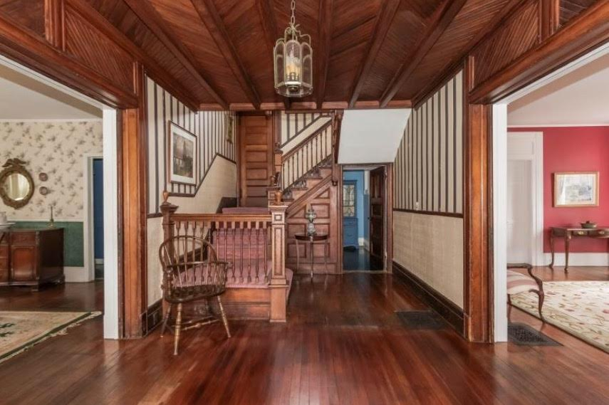 1893 House, Real Estate Photography, Molding, Woodworking, Ceiling, Herringbone, Wood Trim, Wood Edging, Wood Details, Entryway, Grand Entrance, Stairway, Vintage, Antique, This Old House, Old Home,