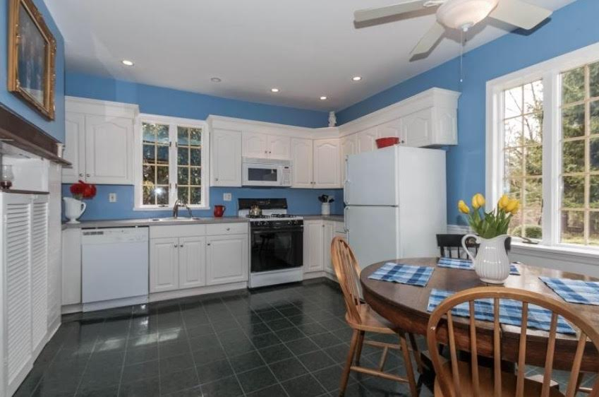 Eat-In Kitchen, White Kitchen, Blue Paint, Old Home, Windows, Natural Light, Ceiling Fan,