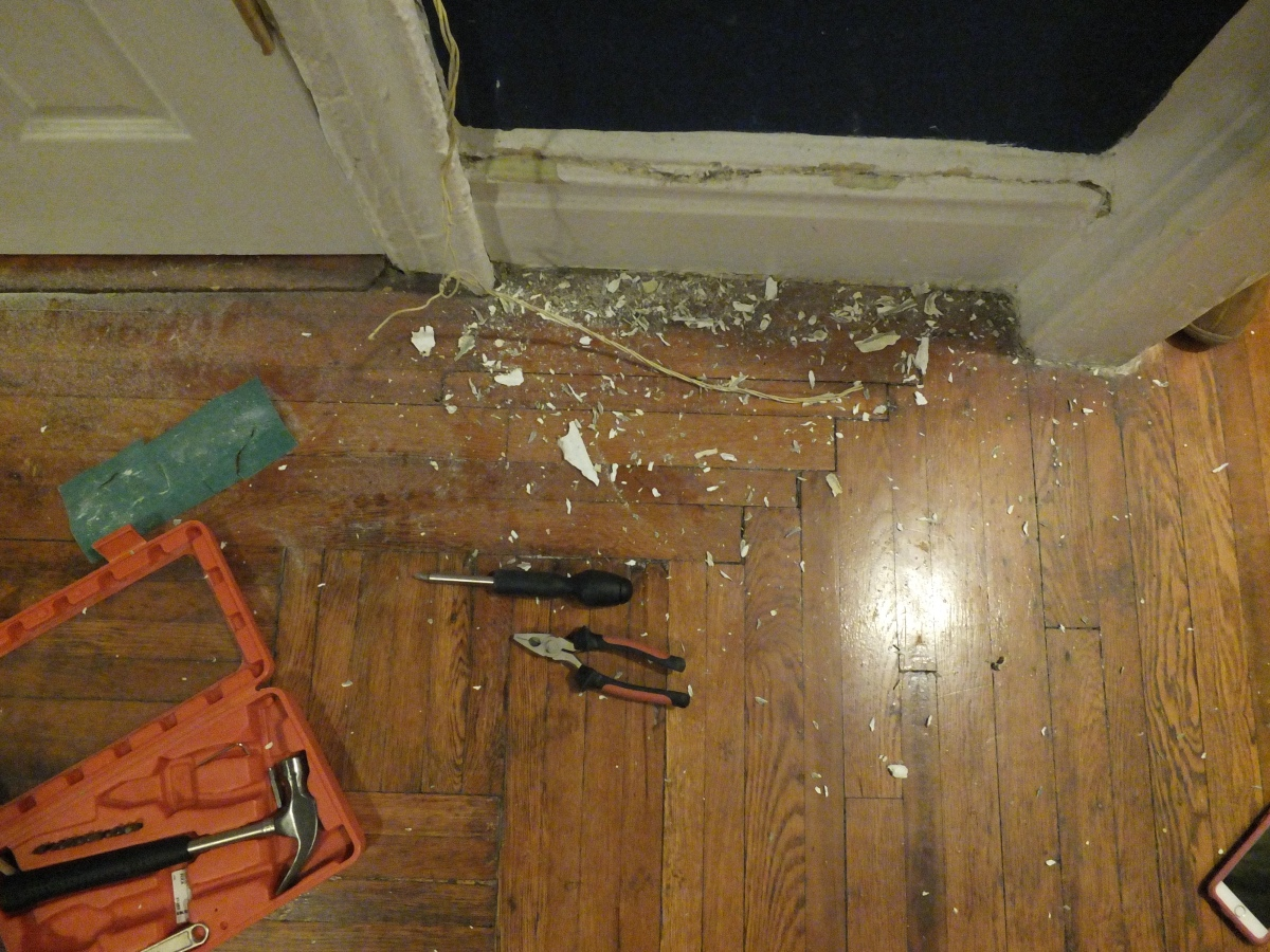 Demo, Pre War Construction, Cable wiring, Telephone wiring, removing wiring from molding, not electric, no charge, in progress, progress, construction, DIY, Weekend Project, Home Renovations