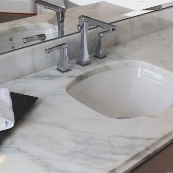 Marble, Bathroom Sink Top, Bathroom Counter, Bates and Bates Loretta Sink, Watermark Faucet, Watermark Chelsea, Chrome Faucet, master Bath design, Master Bathroom Design, Interior Design, Interior Design New Jersey, New Jersey Interiors