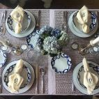 Tablescape, Spring Tablescape, Spring Table, spring place settings, Easter, Easter Table, Entertaining, Hosting, Holiday Hosting, Dinner Party, Crate and Barrel Dinnerware, Blue and white, Lavendar, Hydrangeas, Blue Flowers, Centerpiece, Spring Centerpiece, Candlelight, Chilewich, Chilewich placemats, Embroidered napkins, Monogram, Custom linens,