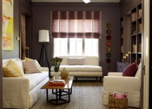 Wall and Trim Painted, Painted Wall and trim color, Uniform Wall and Trim Color, Wall and Trim painted the same color, crown molding painted same color as walls, molding painted same color as walls, moulding painted same color as walls,, purple design, purple room decor, living room