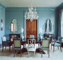 Wall and Trim Painted, Painted Wall and trim color, Uniform Wall and Trim Color, Wall and Trim painted the same color, crown molding painted same color as walls, molding painted same color as walls, moulding painted same color as walls, Blue interiors, Blue, Color INspo, Traditional Space, Acclectic Design, Paint and wood mix