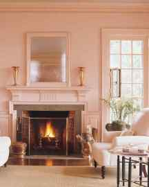 wall and trim colors, painted wall and trim, molding painted the same color as the walls, mouldings painted same as walls, all pink walls, all pink room, martha stewarts guest room, martha stewart, martha stewart guest suite, martha stewart pink room