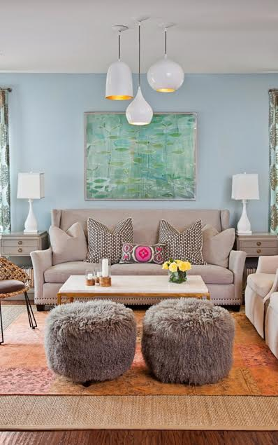 Layered Rugs, Decor Trend, Design Trend, Blue and Orange Color scheme, pattern play, textures,