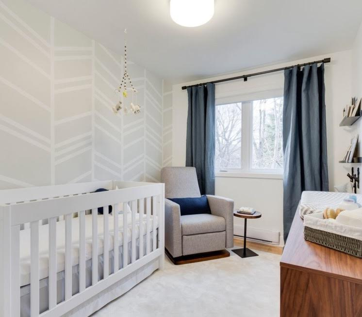 Bedroom Inspiration, Compact Living, Small Space, Small Space Design, Bedroom Inspo, Small Space Inspo, Modern Bedroom, Contemporary Bedroom, White and Gray, White and Grey, Nursery, Neutral Nursery, Nursery Inspiration, Modern Nursery, Contemporary Nursery, Gender Neutral Design, Gender Neutral Nursery,